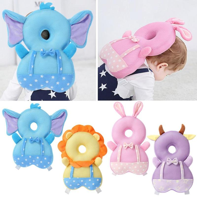 1pcs Cute Large Baby Head Protection Pad Soft Crystal Velvet Filled With PP Cotton Breathable Toddler Anti-fall Headrest Pillow