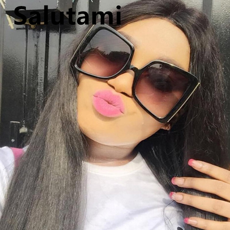 Hollow Oversize Square Sunglasses For Women 2020 New Fashion Bow Shape Bee Sun Glasses Female Gradient Black Pink Big Shades