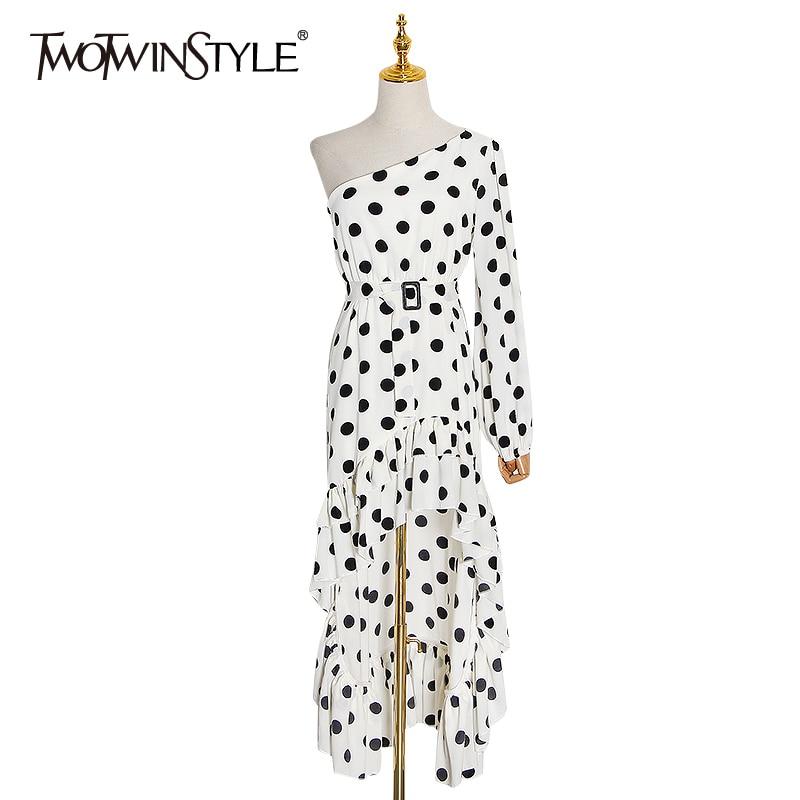 TWOTWINSTYLE Irregular Ruffle Dot Dresses Female Slash Neck Long Sleeve Lace Up Dress Women Fashion Clothes 2020 Spring New