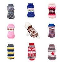 Zimowy ciepły kreskówka pies ubrania świąteczny sweter na małe psy odzież płaszcz Knitting Crochet Perro psy sweter