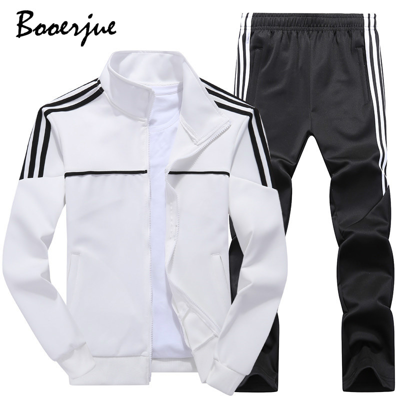 Spring Men's Sets Winter Striped Decoration Tracksuit Men Sportswear 2 Piece Set New Jacket+Pant Sweatsuit Male 4XL Dropshipping