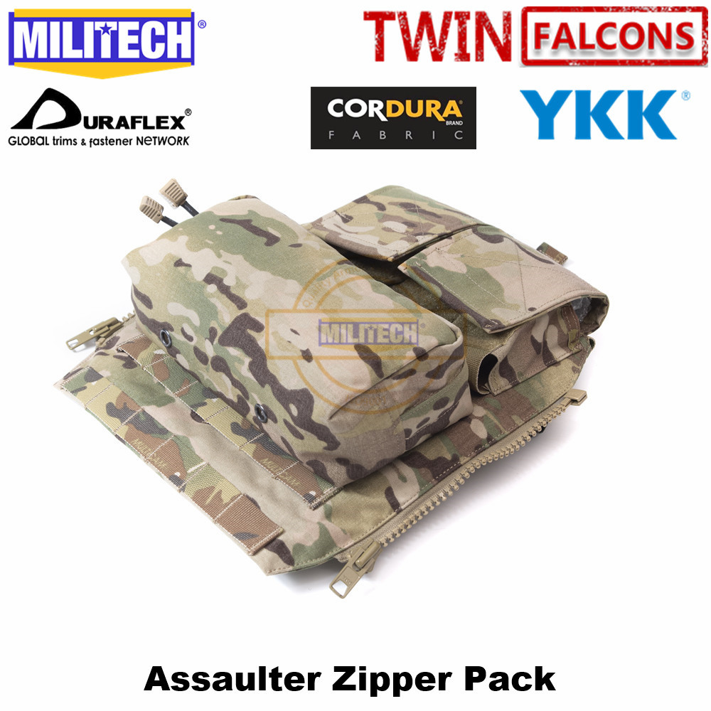 MILITECH TWINFALCONS TW 500D Delustered Cordura  Crye CP Multicam Pouch Zip-On Panel For JPC CPC AVS Military Molle Zipper Pack