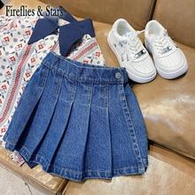 Spring Autumn Girls Denim Shorts Boys Hot Shorts Kids Fake Skirt Children Clothes Fashion Style Pleated 2 To 9 Yrs
