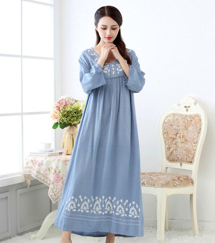 2019 M-XXL Plus Size Women  Lingerie Cotton Long Nighties For Women Nightgown Spring Autumn Sleepwear Nightdress