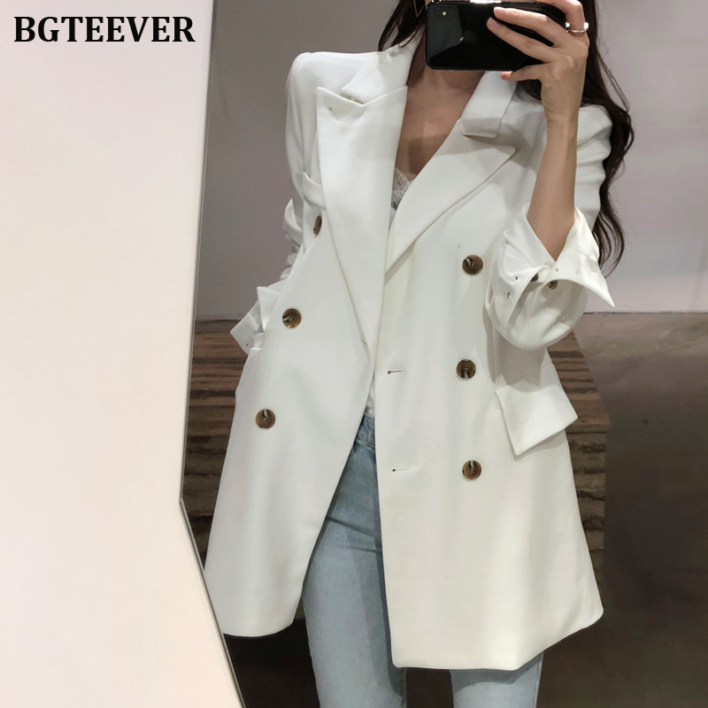 Fashion Double-breasted Women Blazer Notched Collar Slim Waist Female Blazer Jacket Office Ladies Outerwear Suits 2019 Autumn