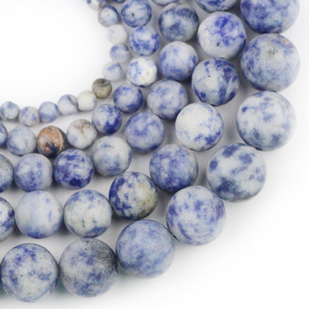 YHBZRET Natural Stone Matte blue point white Spacer Beads For Jewelry Making DIY Necklace Bracelet Accessories 4 6 8 10 12mm image