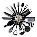 Виниловые настенные часы для записи столовых приборов  современный дизайн  ложка  вилка  декоративные кухонные винтажные виниловые часы  на...