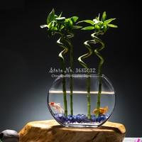 25cm Simple Round Creative Peach Blossom Transparent Glass Fish Tank Gold Fish Tank Flat Round Mini Aquarium Fish Aquarium