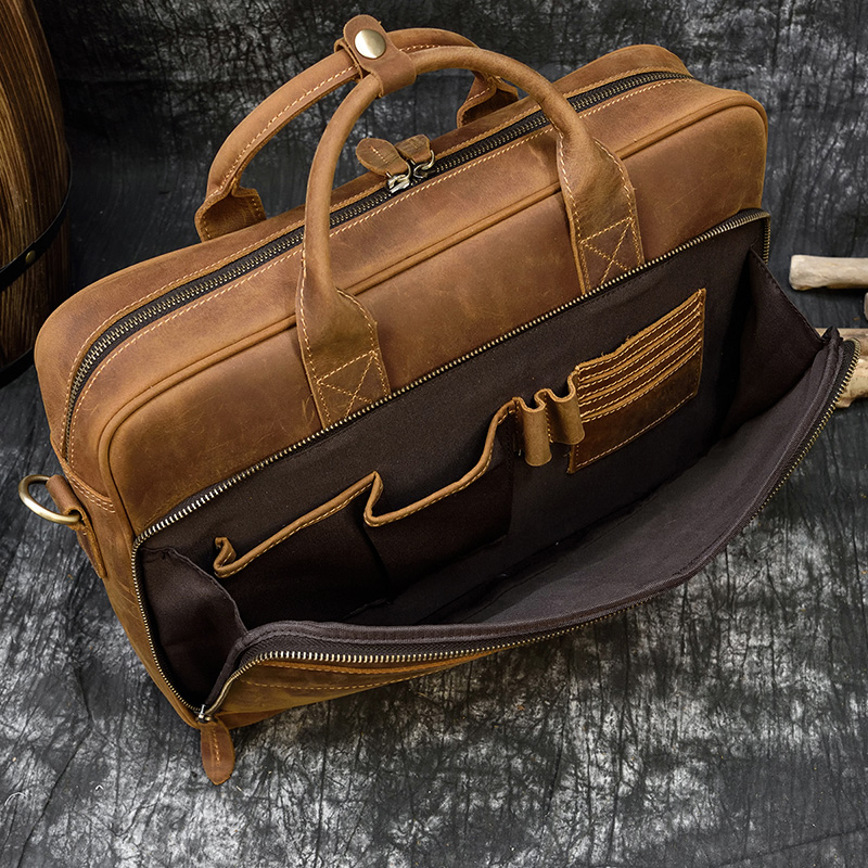 """H0f8fe91010304a03bff33616ae01a5bft MAHEU Men Briefcase Genuine Leather Laptop Bag 15.6"""" PC Doctor Lawyer Computer Bag Cowhide Male Briefcase Cow Leather Men Bag"""