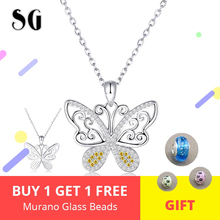 Luxury 925 Sterling Silver Spakling CZ Butterfly Pendant Necklaces with for Women Valentines Day Gift