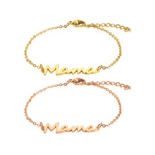 Womens Bracelet Femme Stainless Steel Jewelry Accessories Fashion Personality Chain Link Adjustable Mama Letters Bracelets