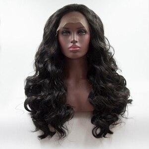 Cor preta longa onda de água encaracolado penteado perucas para cabelo sintético feminino fibra de alta temperatura tamanho médio