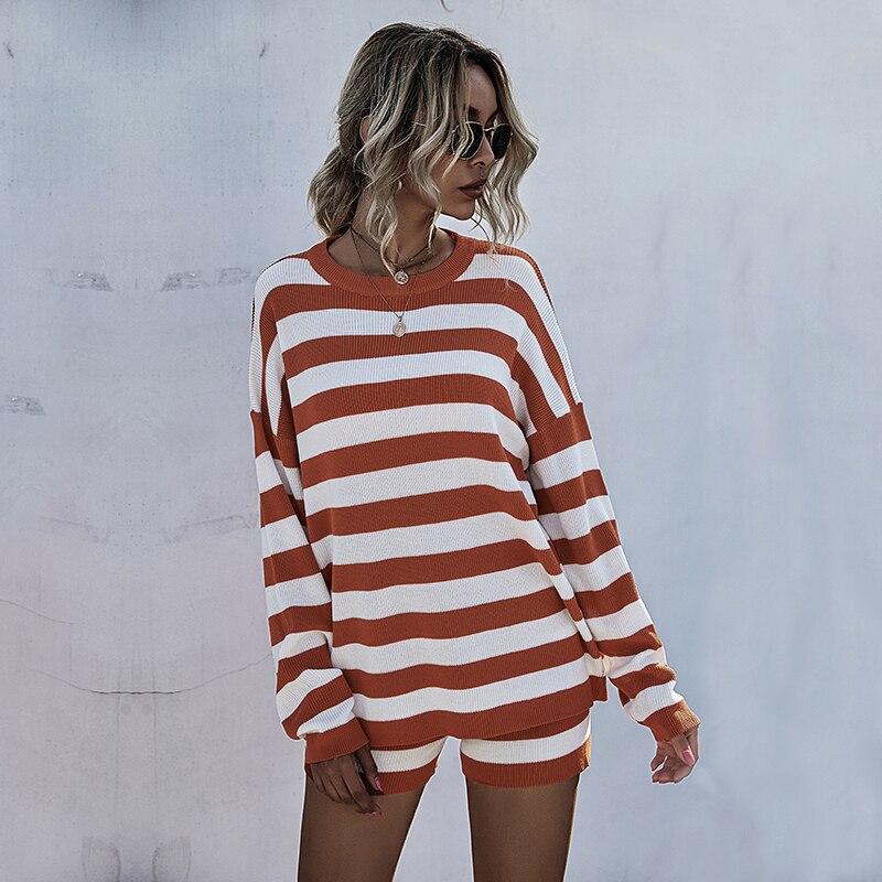 Купить модный костюм женский осенне зимний стиль пуловер контрастных