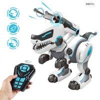 EBOYU RC Dinosaur Robot Remote Control Walking Dinosaur Toy Interactive Dancing Singing Missiles Launching Feeding Dino Robot