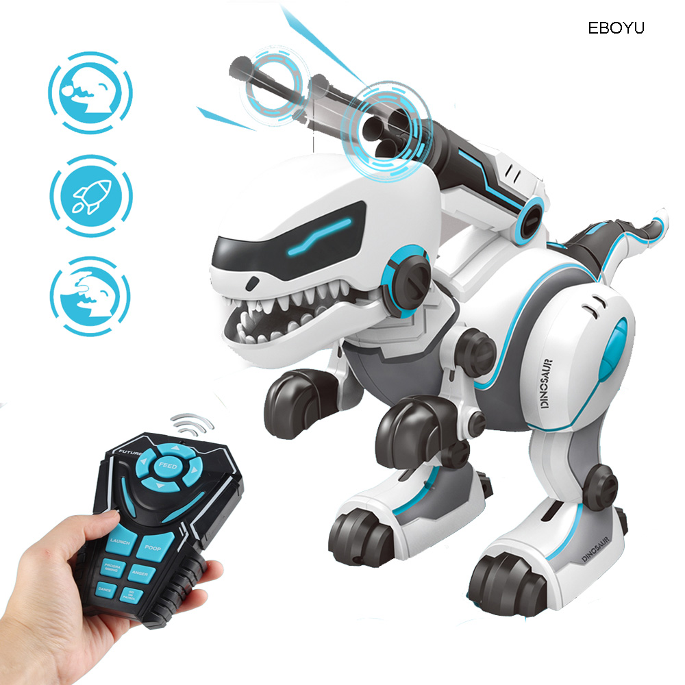 EBOYU RC dinosaure Robot télécommande marche dinosaure jouet interactif danse chantant Missiles lancement alimentation Dino Robot