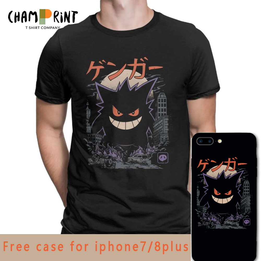 Gengar Kaiju Japan Style Pokemon Clothes Comedy Fashion T-Shirts Men Novelty Pure Cotton Tees Short Sleeve T Shirt Unique