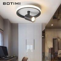 BOTIMI الحديثة قابل للتعديل الأسود مصباح السقف لغرفة المعيشة سقف شنت الجولة الأبيض الممر تركيبات بإضاءة LED