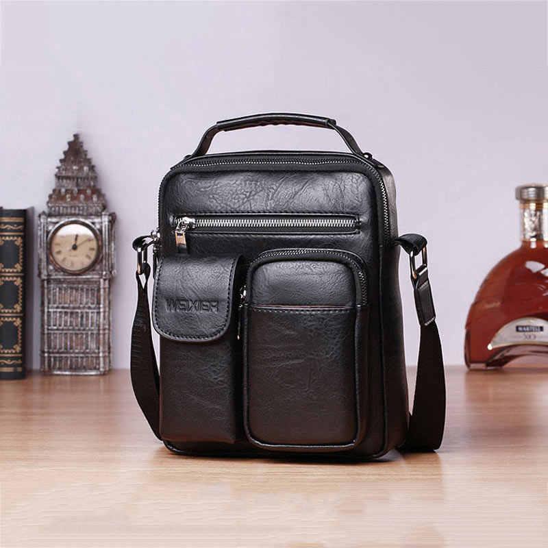 กระเป๋าถือ 2020 ใหม่แนวตั้งสแควร์ Crossbody กระเป๋าผู้ชาย Casual Zipper สีกระเป๋ากันน้ำผู้ชาย