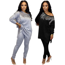 2020 Africa Women Winter Handmade Sequined Pattern Long Sleeve Pullover Tops Trousers 2PCS Clothing Sets