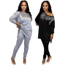 2020 أفريقيا المرأة الشتاء اليدوية الترتر نمط كم طويل البلوز بلايز بنطلون 2 قطعة مجموعة ملابس