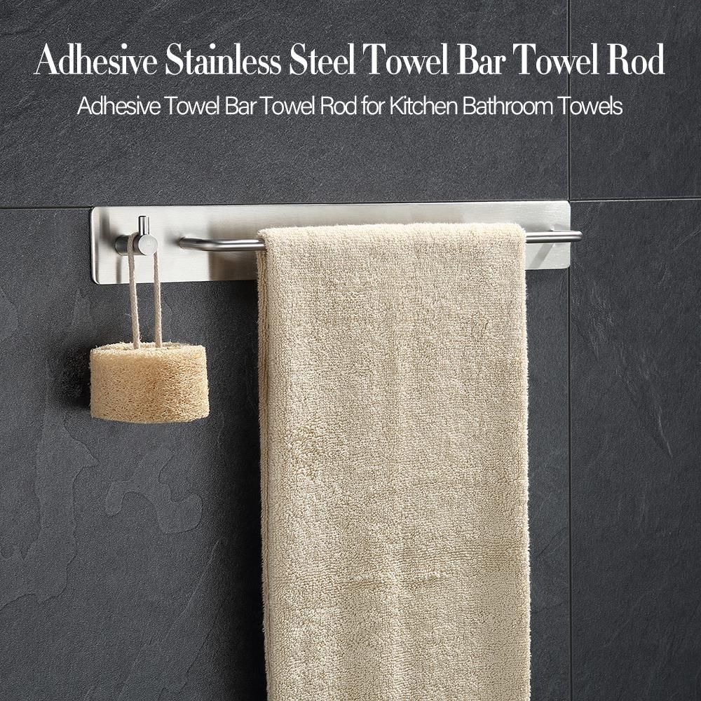 Stainless Steel Towel Holder Towel Wall Mounted Hanger Hook Organizer Towel Rack storage for Kitchen Bathroom Holder Accessory|Towel Bars| |  - title=