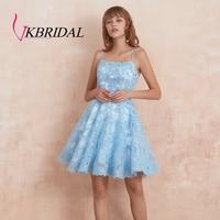 VKBRIDAL Lace Beaded Homecoming Dresses Short Spaghetti Straps Blue Vestidos de Graduacion with Strappy Back