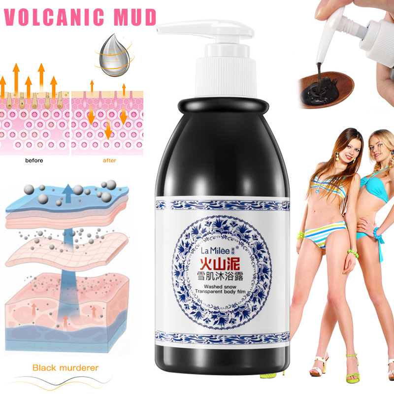 Volcanic Mud Body Wash 250ml Whitening Exfoliating Moisturizing Body Bathing Cream EY669