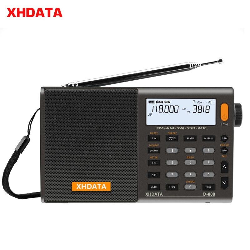 Xhdata D-808 portátil rádio digital fm estéreo/sw/mw/lw ssb ar rds multi banda rádio alto-falante com display lcd despertador rádio