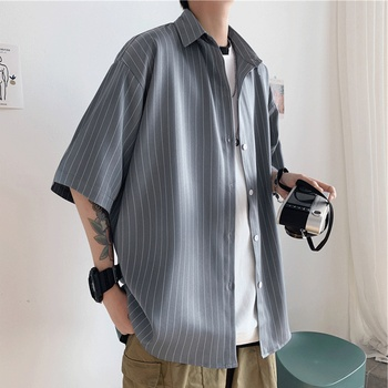 Ruffian Handsome Shirt Men's Summer Hong Kong Style Japanese-style Casual Loose-Fit Vertical Striped Shirt Short Sleeve Korean-s vertical striped flower embroidered frill shirt