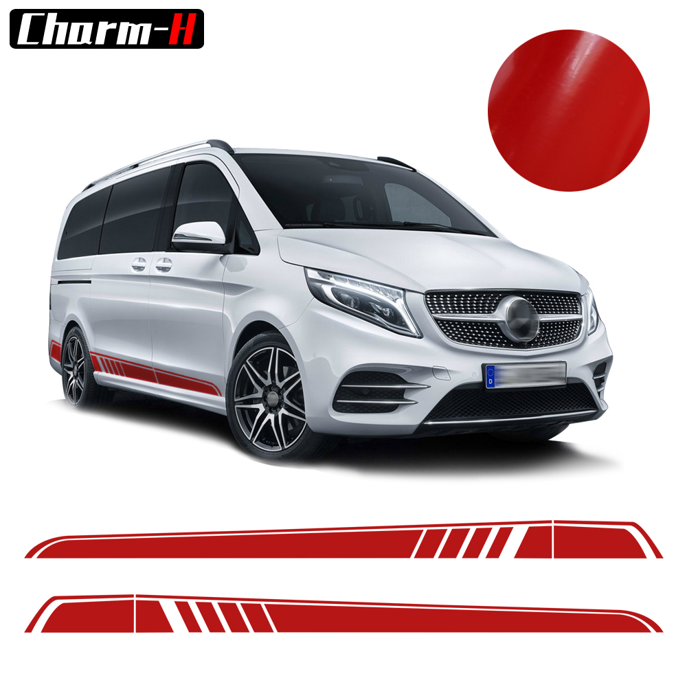 2pcs For Mercedes Benz Vito V Class W447 2014-2018 AMG Edition Car Styling Side Sticker Decal Side Skirt Stripes Vinyl Decals