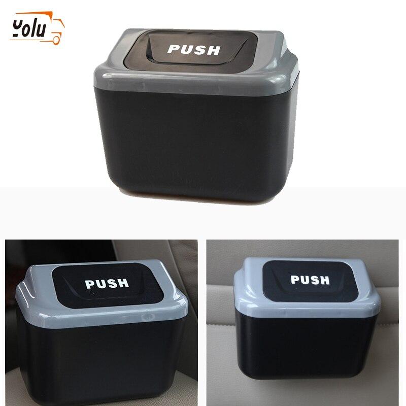 YOLU Car Trash Can Garbage Gray Bin Auto Organizer Storage Box Rubbish Gargage Holder For Lada Car Accessorie