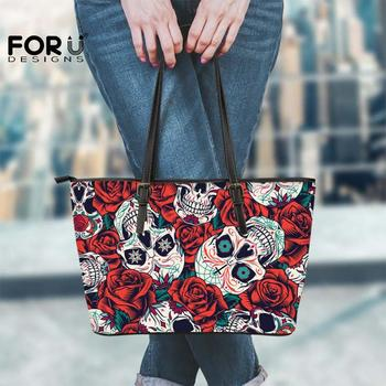 FORUDESIGNS Women Purse Big Mexican Sugar Skull Rose Print Large Capacity Leather Tote Bags Hand-bags Zipepr Handbags For Girls tangimp stripes cotton wristlets bags japanese style handbags linen tote simple coin purse for gift original big capacity 2018