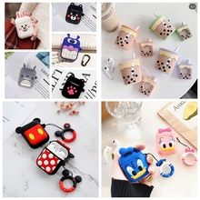 Earphone Case For Airpods 2 Case Silicone Cute Cartoon Soft Headphone Cases For Apple Air pods
