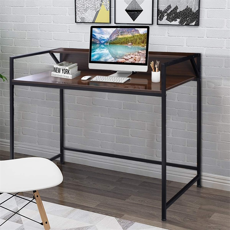 Simpliste bureau ordinateur mobilier de bureau maison noir évider conception maison ordinateur bureau debout HW52796