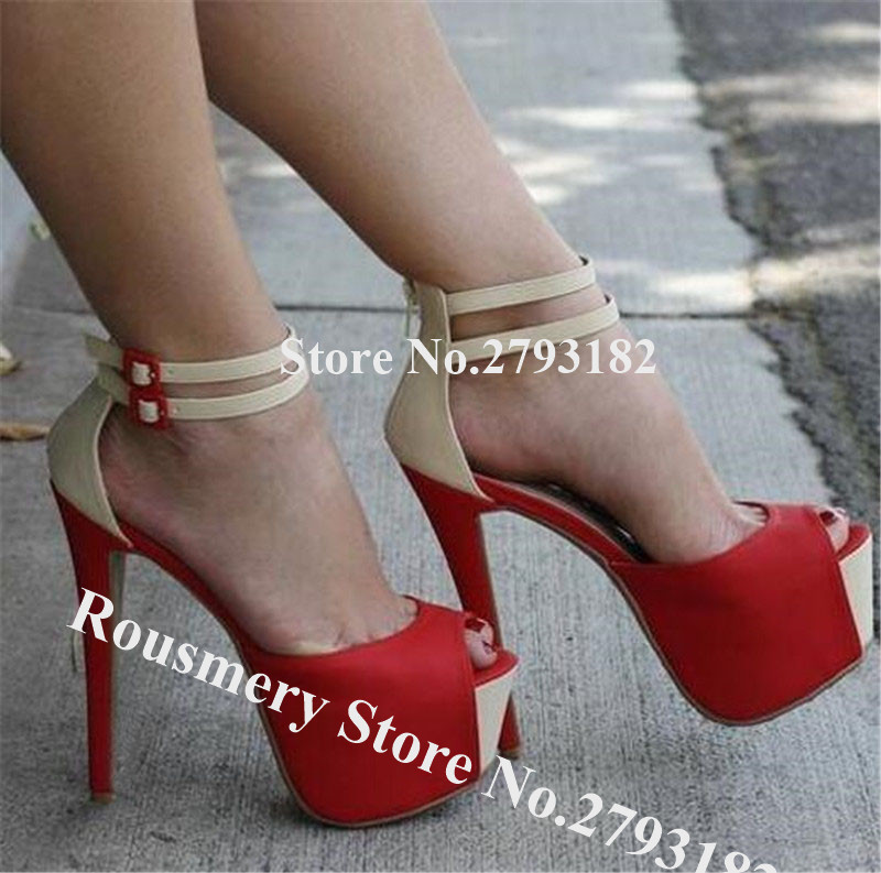 Western Sexy Peep Toe Suede Leather Patchwork High Platform Stiletto Heel Pumps Red Yellow Pink Super High Heels Dress Shoes