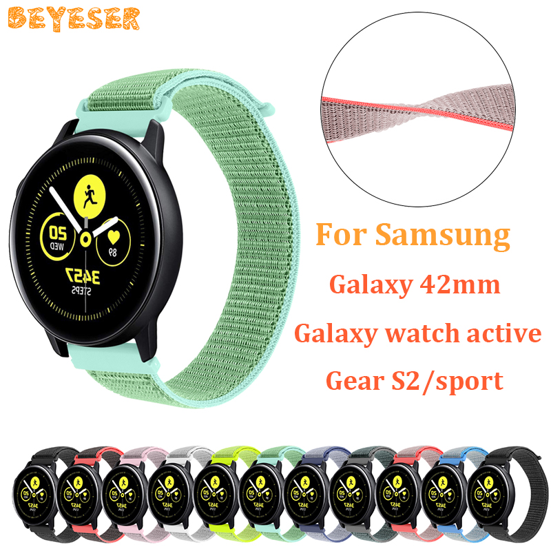 20mm Woven nylon band For Samsung Galaxy 42mm active gear s2/sport watch strap replacement For Garmin vivoactive 3 wristband