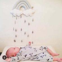 Nube de arcoíris nórdica con gota de lluvia, colgante de pared, decoración para habitación de niños, estilo escandinavo, habitación de niños, guardería