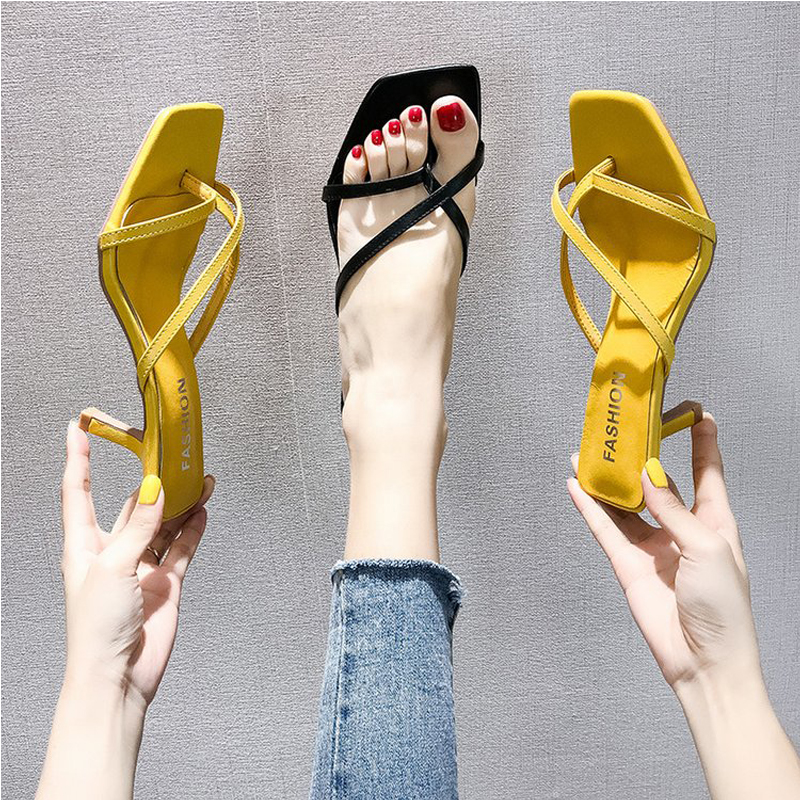 Black High Heels Sandals For Summer Narrow Band Heel Vintage Square Toe Concise Ladies Shes Party Yellow Sandals Gladiator Shoes