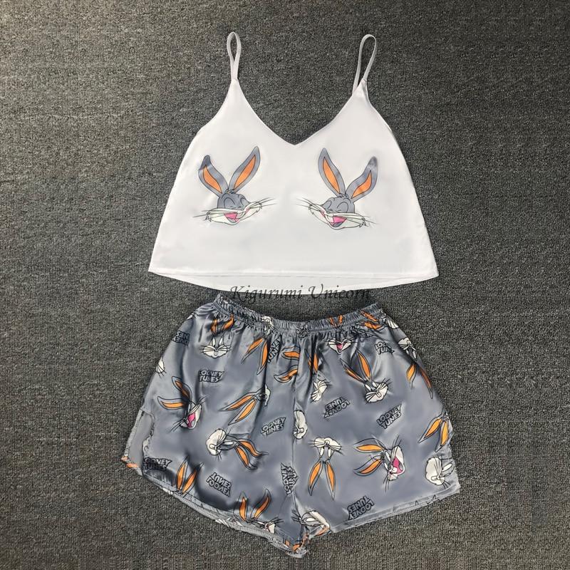 Милая Пижама с животным принтом, домашний костюм, летняя сексуальная пижама с v-образным вырезом, Женская атласная пижама на тонких бретелях