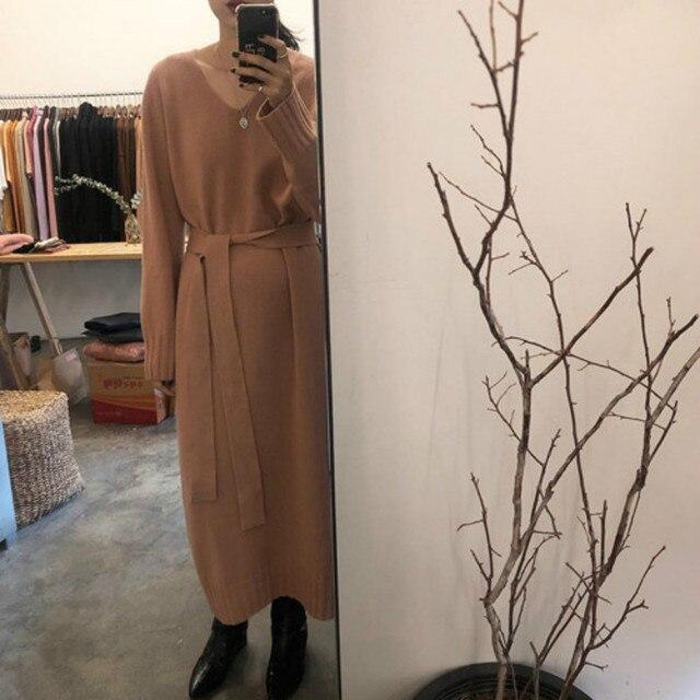 Femmes coréennes automne hiver col en V pull robe dames à manches longues cachemire laçage robes tricotées longue grande taille pull Vintage
