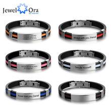 Pulsera de identificación grabada personalizada, brazalete de acero inoxidable personalizado, regalo de moda para el Día del Padre (JewelOra BA101921)