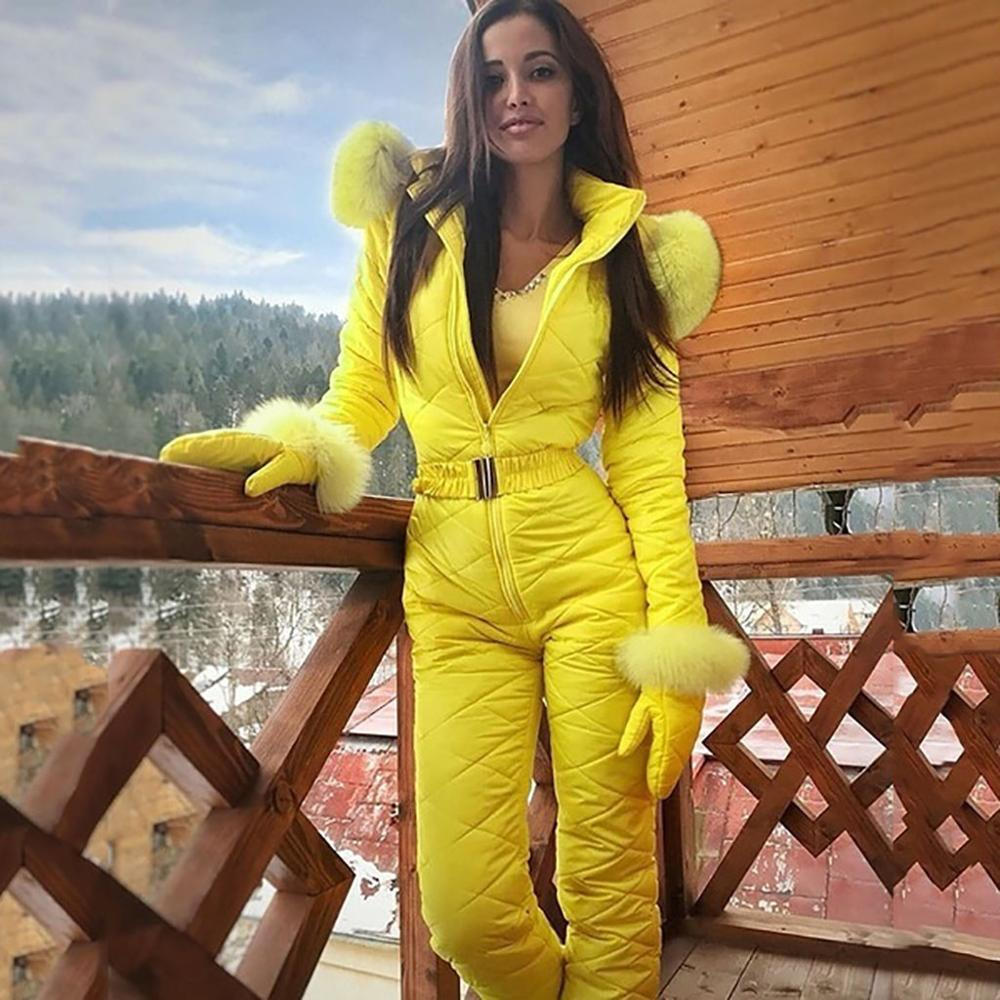 Neon New Winter Hooded Jumpsuits Parka Elegant Cotton Padded Warm Sashes Straight Zipper One Piece Women Casual Tracksuits