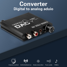 192kHz Digital to Analog Converter DAC Volume Control Coaxial SPDIF Toslink to Analog Stereo L/R RCA 3.5mm Jack Audio Adapter
