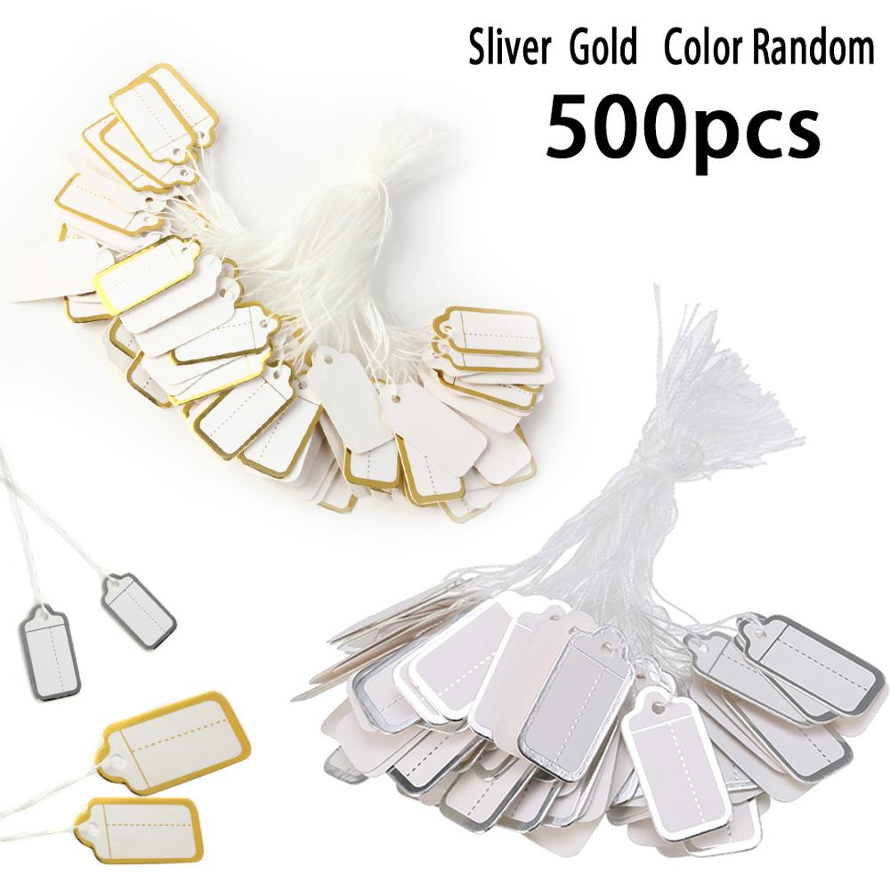 500pcs Mini Size Paper Labels Price Tags String Tie DIY Watch Jewelry Clothing Display Price Ticket Tag Labels 25*13mm