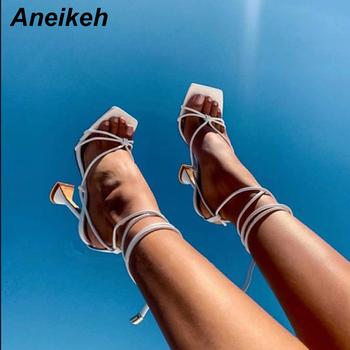 Aneikeh letnie buty kobieta sandały podstawowe Pu moda wiązanej Spike obcasy Lace-Up pompka imprezowa rozmiar 35- 41 czarny biały moreli tanie i dobre opinie Black white apricot 35 36 37 38 39 40 41 11 5CM Rome 0 5cm Narrow Band sandals high heels sandalias mujer 2019 Otwarta Wiązane na krzyż