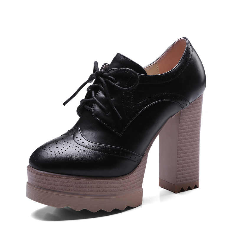 2020 Vintage Lace Up kadın pompaları Cut Out Oxford ayakkabı tıknaz topuk rugan yüksek topuklu bayan yarım çizmeler