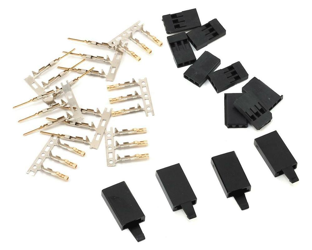 5/10 Pairs Jr Futaba Servo Receiver Connector Plug With Lock And Male Female Gold Plated Terminals Crimp Pin Kit For RC Battery