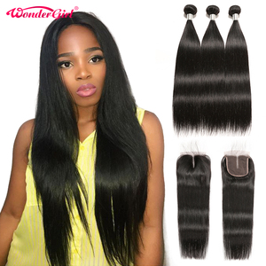 Peruvian Straight Hair Bundles With Closure Remy Human Hair Bundles With Closure With Baby Hair #1B Natural Color Wonder girl