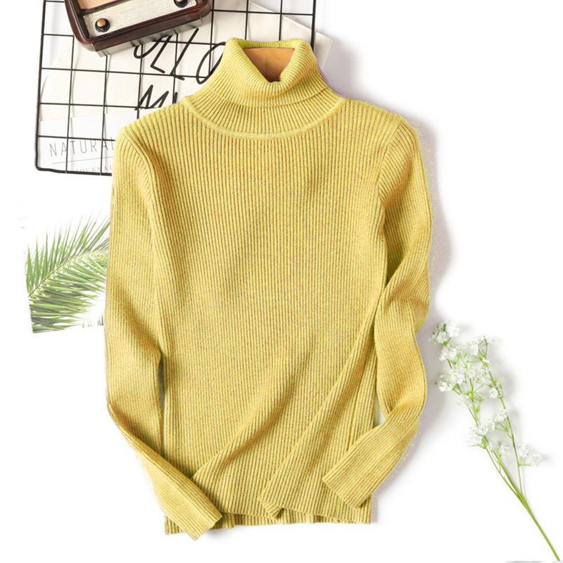 2020 AUTUMN Winter women Knitted Turtleneck Sweater Casual Soft polo-neck Jumper Fashion Slim Femme Elasticity Pullovers 17