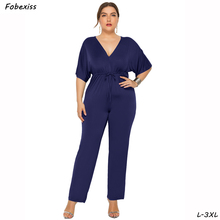Rompers Womens Jumpsuit 2019 Half Sleeve Sexy V Neck Wide Leg Women Plus Size 3XL Overalls Dropshipping